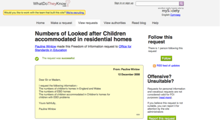 Children's care homes FOI request